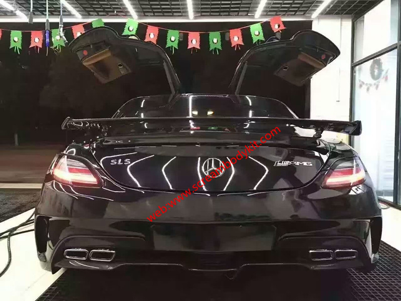 Benz sls front lip after lip spoiler carbon fiber