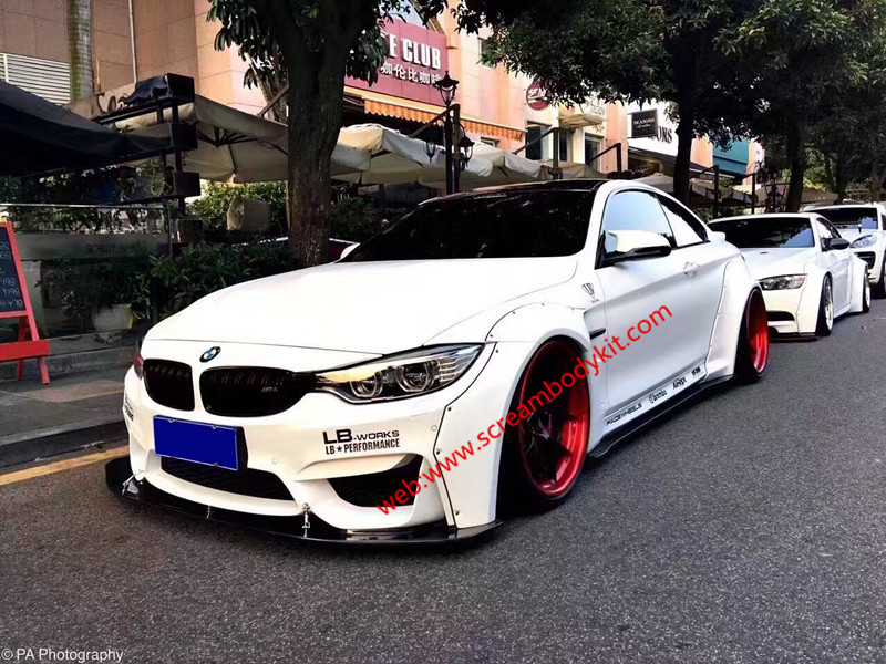 BMW M4 update LB-performance wide body kit front lip after lip wing fenders