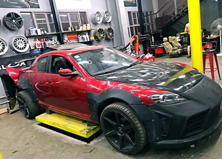 mazda RX8 update wide body kit front bumper after bumper fenders