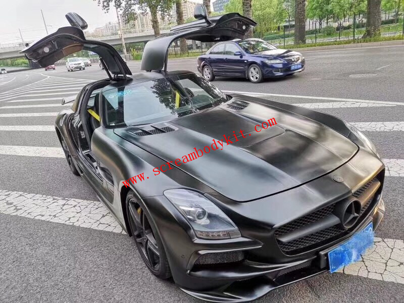 Benz SLS black series body kit front bumper after bumper hood spoiler side skitrs fenders