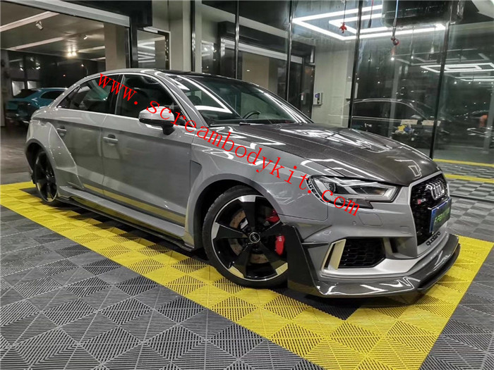 Audi RS3 wide body kit carbon fiber front lip rear lip fenders side skirts spoiler